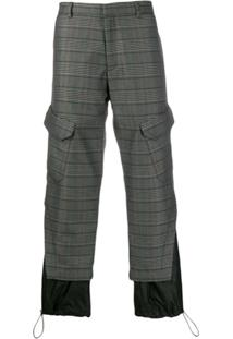 Delada Check Drawstring Trousers - Cinza