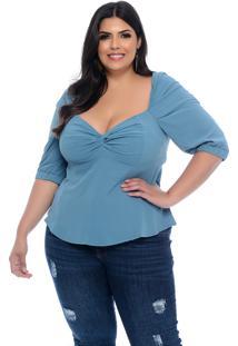 Blusa Plus Size Marileti Azul Claro Ombro A Ombro Decote Torcido