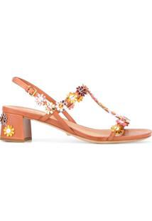 Car Shoe Sandália De Couro Com Aplicação Floral - Marrom