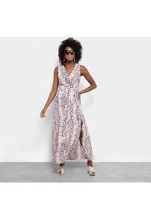 Vestido Longo Lily Fashion Snake Print - Feminino-Rosa