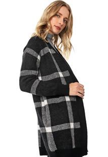 Maxi Cardigan Lã Banana Republic Tricot Aire Oversized Sweater Cinza/Preta