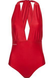 Body Rosa Chá Bianca Red Beachwear Vermelho Feminino (Barbados Cherry, P)