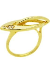 Anel Flat Dourado Cravejado Banhado A Ouro 18K