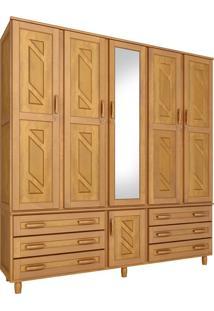 Guarda-Roupa Paris Casal Mel Com Espelho 5 Portas Madeira Maciça De Pinus Cavazotto