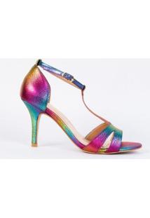 Sandália Salto Fino 7Cm Croco Couro Tie Dye Cbk - Feminino-Rosa
