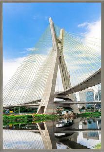 Quadro Decorativo Ponte Estaiada- Prateado & Azul Claro