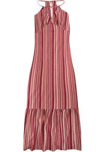 Vestido Rosê Longo Listrado