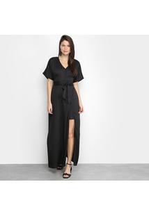 Vestido Longo Allexia Sobreposição Amarração - Feminino-Preto