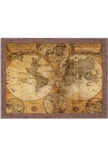 Quadro Decorativo Mapa Antigo Madeira - Grande