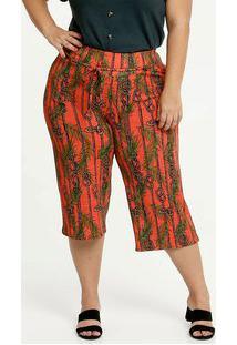 Calça Feminina Pantacourt Estampa Tropical Plus Size