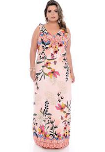 Vestido Longo Flores Plus Size
