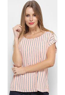 Blusa Adooro! Bicolor Listras Feminina - Feminino-Rosa