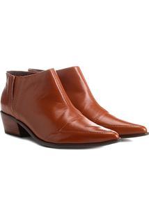 Bota Couro Cano Curto Shoestock Bico Fino Feminina - Feminino-Marrom