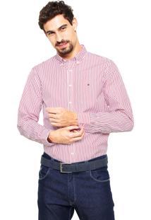 Camisa Tommy Hilfiger Regular Fit Listras Vermelha/Branca