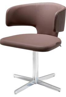 Cadeira Hug Assento Estofado Linho Trufa Com Base Aranha Em Aluminio - 46909 - Sun House