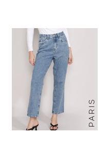 Calça Jeans Feminina Mindset Reta Paris Cintura Alta Azul Médio Marmorizado