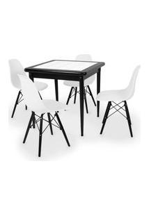 Conjunto Mesa De Jantar Em Madeira Preto Prime Com Azulejo + 4 Cadeiras Eames Eiffel - Branco