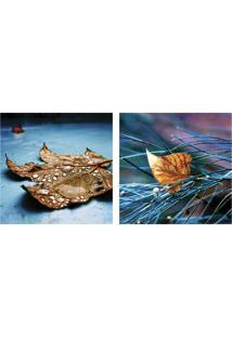 Quadro Decorativo Duplo De Acrílico De Parede Paisagem Folhas Ao Chão 40X40 - Art Frame