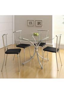 Mesa 375 Vidro Incolor Cromada Com 4 Cadeiras 154 Preta Carraro