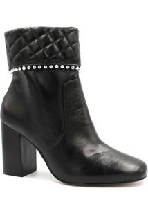 Bota Cano Curto Zariff Shoes Ankle Boot Zíper Feminino - Feminino-Preto