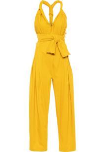Macacão Feminino Tiras - Amarelo