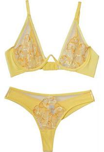 Conjunto Com Tule Bordado Amarelo - La139 Dica De Lingerie