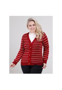 Cardigan Plus Size Feminino Vermelho