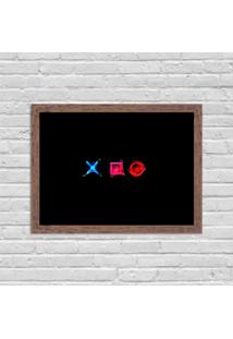 Quadro Decorativo Gamer Play Control X O Madeira - Médio