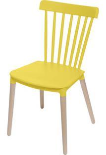 Cadeira Jana Polipropileno Cor Amarela Base Madeira - 53758 - Sun House