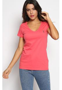 Camiseta Com Bordado - Coral & Azul Marinhoaleatory