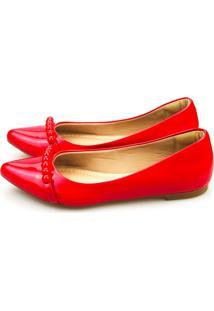 Sapatilha Love Shoes Bico Fino Bolinhas Vermelho