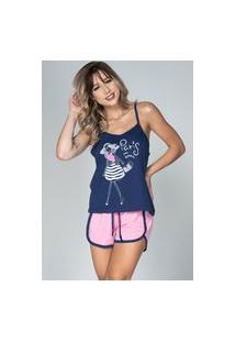 Baby Doll Bella Fiore Modas Pijama Gabriela Regata Azul Marinho