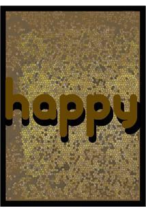 Quadro Com Moldura Happy Marrom (33X24)