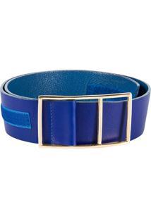 Cinto Canellado Com Velcro Azul