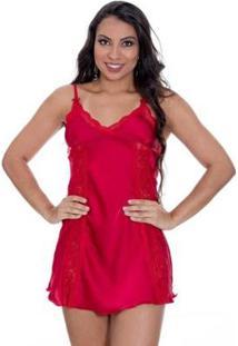 Camisola Cetim Com Calcinha Feminina - Feminino-Vermelho