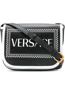 Versace Bolsa Transversa 90S Vintage Com Logo - Preto