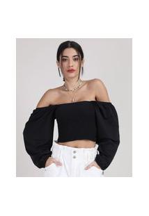 Blusa Feminina Cropped Ombro A Ombro Com Lastex Manga Bufante Preta
