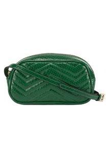 Bolsa Tiracolo Gabriela Com Matelassê Textura Snake Verde