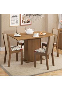 Conjunto Sala De Jantar Madesa Talita Mesa Tampo De Madeira Com 4 Cadeiras Marrom - Tricae
