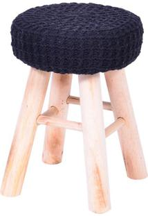 Puff Glamour Crochãª- Preto & Bege- 40Xã˜28Cm- Or Or Design