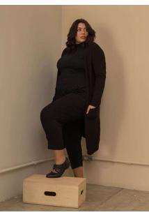Cardigan Longo Tricô Plus Size Preto-Exg Preto