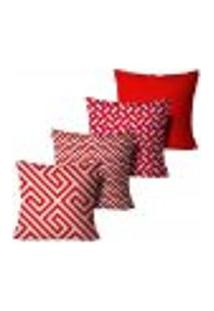 Kit 4 Capas Para Almofadas Decorativas Geométrica Vermelha E Branca 35X35Cm