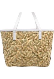 Bolsa Birô Shop Bag Palha Trançada Feminina - Feminino-Branco