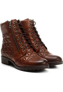 Bota Couro Cano Curto Shoestock Coturno Matelassê Feminina - Feminino