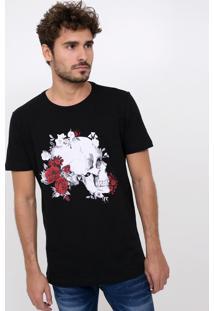 Camiseta Caveira Com Flores Vermelhas