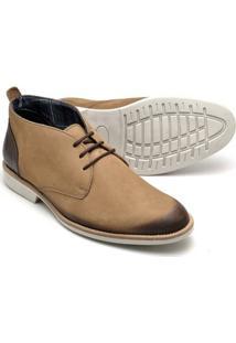 Sapato Casual Couro Reta Oposta Masculino - Masculino-Bege