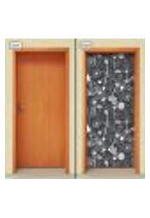Adesivo Decorativo De Porta - Flores - 1488Cnpt