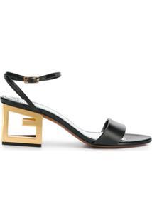 Givenchy Sandália De Couro Com G No Salto - Preto