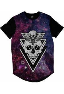 Camiseta Longline Bsc Galáxia Caveira Borboleta Lua Sublimada Masculina - Masculino-Roxo
