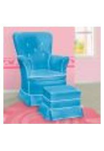 Poltrona Amamentação Sofia Fixa E Puff Azul E Branca